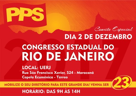 CONGRESSO ESTADUAL DO RIO DE JANEIRO, CHEGOU A HORA!