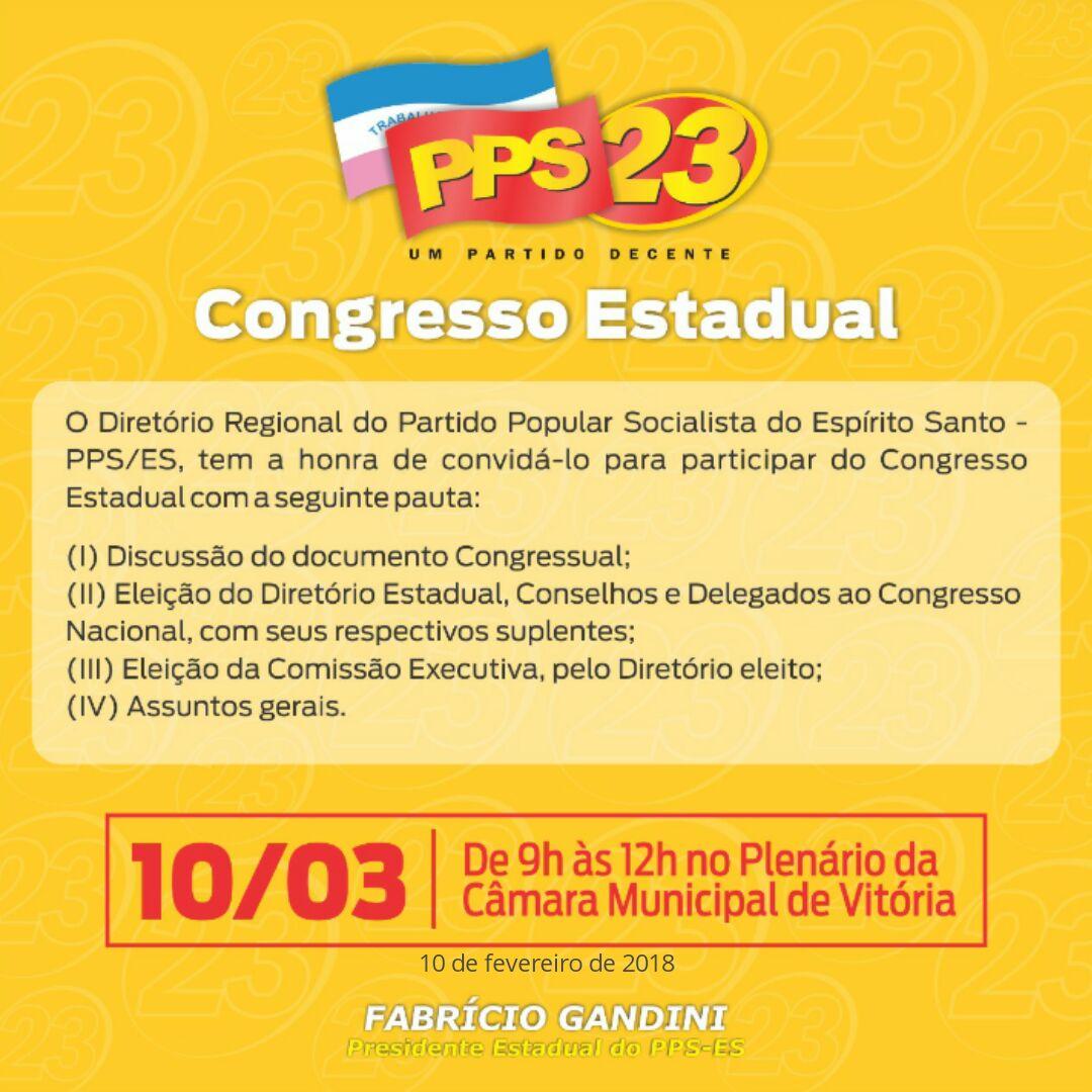 Congresso Estadual do PPS-ES: Confira o edital