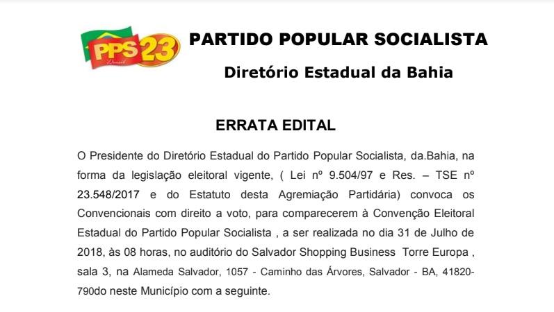 Convenção Eleitoral Estadual do Partido Popular Socialista / Bahia