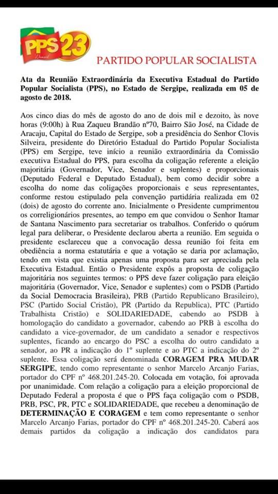 Ata da reunião da comissão Executiva estadual que aprovou as coligações do PPS para as eleições 2018!