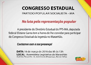 Congresso Estadual do PPS será realizado no próximo dia 16 de março