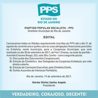 EDITAL DE CONVOCAÇÃO / Diretório Municipal do Rio de Janeiro