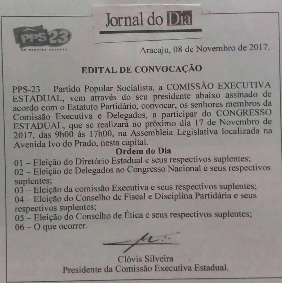 Edital de convocação para o congresso estadual que sera realizado no dia 17 de novembro 2017